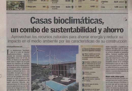 Compartimos una importante publicación de la Cámara de la Madera sobre viviendas bioclimáticas en diario BAE.