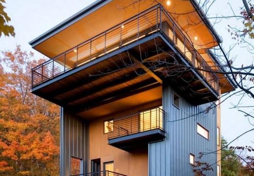 """""""CASA TORRE"""" en Estados Unidos: la madera y el acero se unen para crear un espectacular refugio en el bosque."""