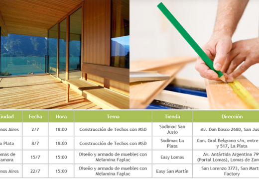 Compartimos el calendario de capacitaciones de Arauco, sobre construcción de techos con MSD y diseño de muebles con melamina.