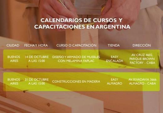 Para agendar: calendario de capacitaciones sobre Construcción con Madera y armado de muebles en Buenos Aires. Arauco Soluciones.