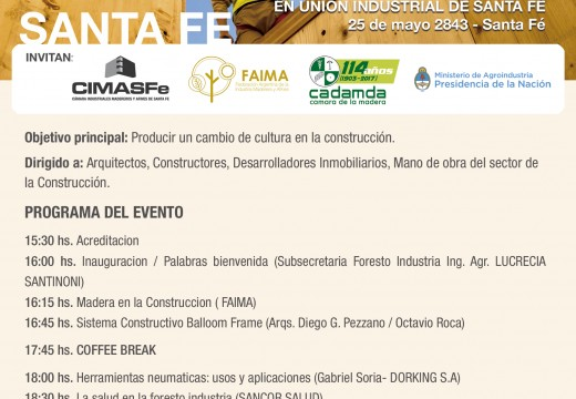 Santa Fé: Programa del Nuevo Seminario sobre Construcción con Madera y Diseño.