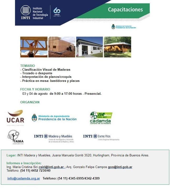 cursos INTI maderas agosto 2017