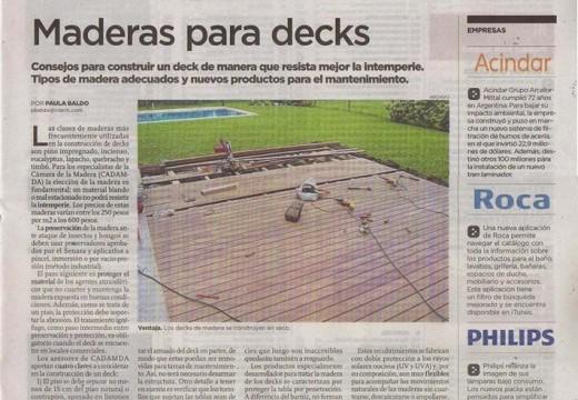 Compartimos una producción de Construcción con Madera CADAMDA en diario Clarín sobre decks.
