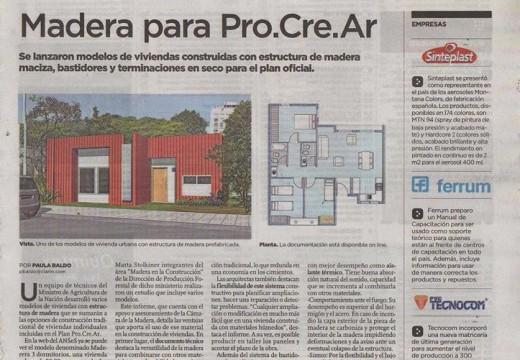 Compartimos una destacada producción realizada por Madera y Construcción en Clarín ARQ sobre la aceptación de un modelo de vivienda de madera por parte del PRO.CRE.AR.