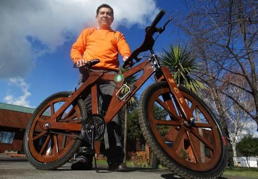 Chile: un trabajador forestal construye su propia bicicleta de madera y gana un premio