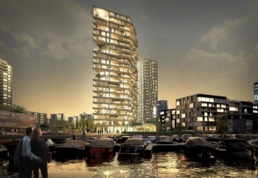 Holanda: construyen la torre de madera más alta del país, 73 metros y 21 pisos.