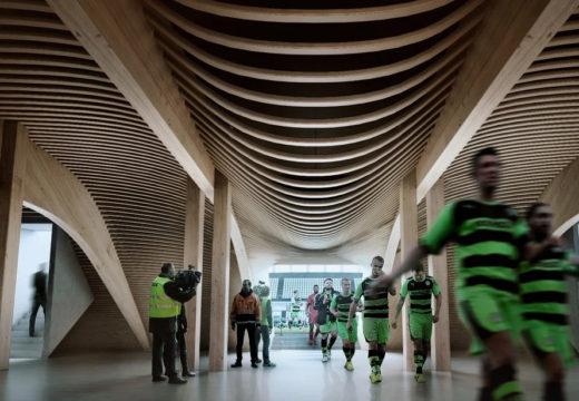 Volver al tablón: Diseñan un estadio de fútbol en madera